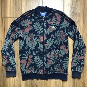 Adidas Floral Track Jacket All Over Print Leaves Flowers 3 Stripes Logo Youth XL