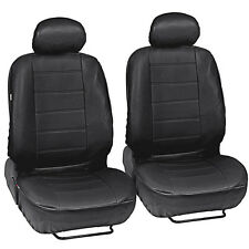 Car Seat Covers Front Pair - Leatherette Synth - Black Arm Rest Slot Premium PU