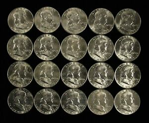 Roll of 20 Uncirculated 1963 50c Franklin Silver Half Dollars - Free Ship US