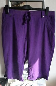 Ladies Summer Purple Linen Mix Shorts. Size 22.Soft Waistband in good condition