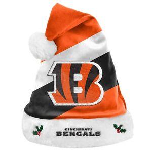 Cincinnati Bengals Team Big Logo Holiday Plush Santa Hat NEW! Christmas SH19