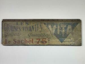 VINTAGE RUSTIC ANTIQUE WOODEN ADVERT FRENCH SIGN