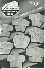 Vintage Paragon Knitting Book No.25 - Baby Cardigans -1950s/60s