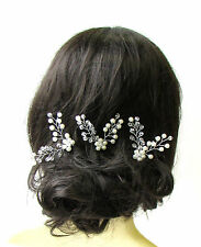 3 Silver Ivory Pearl Bridal Vine Hair Pins Flower Bead Wire Headpiece Set 1285