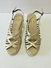 Naturalizer Open Toe Sandal - Size 9 1/2 - Gold Slingback Woven Wedge Rope Heel