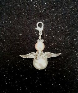 Handcrafted Christmas / Guardian Angel Cat Collar Charm Pearl Beads