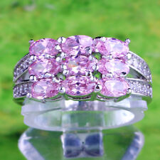 Oval Pink & White Topaz Gemstone Silver Fashion Women Ring Size 9 Jewelry Gifts