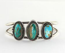 Vintage Old Pawn Sterling Silver Multi Turquoise Cabochon Cuff Bracelet