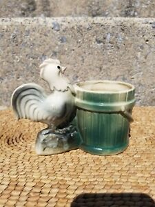 Vintage Rooster Chicken And Bucket/Pail Planter