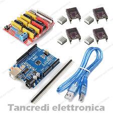 CNC shield V3 + 4x driver DRV8825 dissipatore + Arduino Uno R3 clone + cavo USB