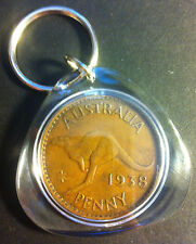 Awesome Collectible Australian 1938 Melbourne Mint Birthday Penny Key Ring