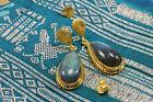 Wholesale Price, Gold Filled Teardrop Labradorite Quartz Gemstone Drop Earrings