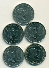 5 DIFFERENT 1 PISO COINS from the PHILIPPINES (2009, 2010, 2011, 2012 & 2013)