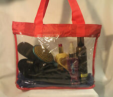 Clear Vinyl Red Trim Consultant Beach Shopping Travel Tote Bag Purse Security