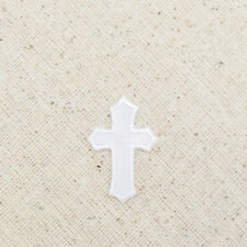 Small/Mini White Cross - Holy - Christian - Iron on Patch/Embroidered Applique
