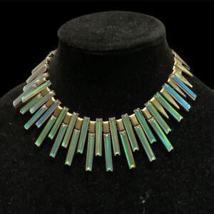 Kendra Scott Bib  Necklace Dichroic Glass Kaplin Goldtone Iridescent Jewelry