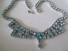 VINTAGE Baby Blue Teal Rhinestone BIB Dangle Silver Tone Necklace-743
