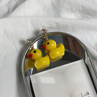 Yellow Bathing Duck Earrings Cute Little Plastic Rubber Duck Children Earring