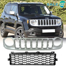 Fits For 2015 2019 JEEP RENEGADE Front Upper Grille Silver Lower Black Silver