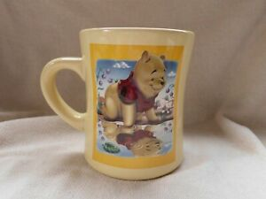 DISNEY STORE WINNIE POOH BEAR 3D REFLECTION PUDDLE WATER LARGE YELLOW MUG CUP
