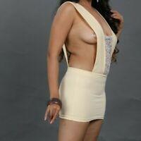 Micro Mini Dress Women's Beige Lace Sleeveless Fitted Sleeveless Bodycon 6-24