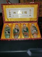 VINTAGE SET OF 4 CHINESE RED-CROWNED CRANE SNUFF BOTTLES OF FOUR SEASONS
