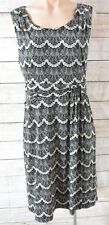 DIANA FERRARI Dress Sz Large 14 16 Black Beige Shift Dress
