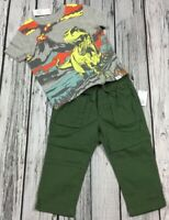 Baby Gap Boy 18-24 Months Dinosaur Shirt & Army Green Pants Outfit. Nwt