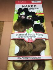 SAGA NAKED BRAZILIAN VIRGIN REMY 100% HUMAN HAIR NATURAL BODY WAVE 7PCS_#OT27