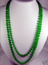 long  36 inches 8mm natural green jade round beads Necklace AAA