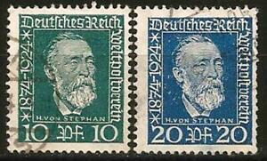 Germany Weimar Republic 1924 Used Postal Union von Stephan Mi-368/369 SG-380/381