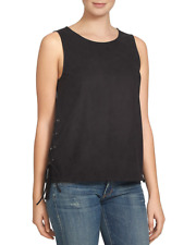 1 State Faux Suede Tank Cami Blouse Lace Up Black Medium NWT $89