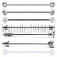 7PCS Industrial Stainless Steel Barbell Arrow Ball Ear Cartilage Piercing 14G