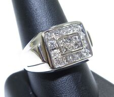 Mens 14k White Gold Channel & Prong Set 1.00ct Round Cut White Diamond Ring