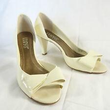 Franco Sarto Open Toe & Instep CREAM Patent Shoe Bow Detail High Heel