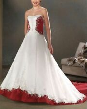 White and red satin embroidery Wedding Dress bridal Prom gown Plus size  2-28