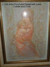 Colette & Child Artist Proof & Pastels w/notes Lithograph  Edna Hibel