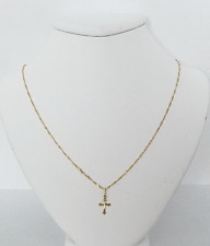 Solid 14K Yellow Gold Cross Pendant and Solid 14K Yellow Gold Chain