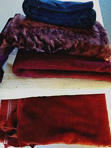 6+ pound lot velvet upholstery fabric remnants rust, wine, cream, blue, purple
