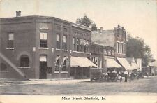 Sheffield IA~Dirt Main St~Corner City Bank w/Side Steps~Early Automobiles c1910