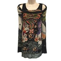 Fuzzi Italy Nylon Mesh Long Layered Floral Cowl Tunic Top Size XL PERFECT