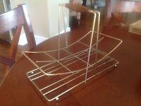 Vintage MCM Gold Metal Drinking 8 Glass Carrier Rack Caddy Holder Barware