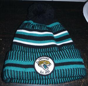 New Era NFL 100 Jacksonville Jaguars Est. 1995 Teal Black White Snow Beanie Hat