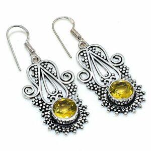 "Citrine Gemstone Handmade 925 Sterling Silver Jewelry Earring 1.97 "" f875"