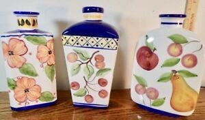lot (3) hand-painted modern ceramic Vases or Decanter w/ floral & fruit designs