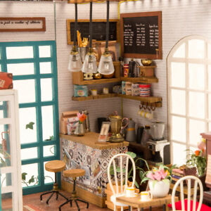 3D Dollhouse DIY Mini Coffee Shop with Led Light Wooden Montessori Puzzle Toy