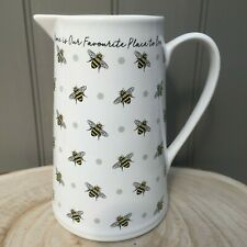 """White Ceramic Large Jug """"Home is our Favourite Place to Bee"""" Decorated with Bees"""