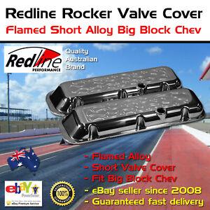 New Redline Rocker Valve Cover Flamed Short Alloy Big Block Chev 396 427 454
