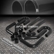 "UNIVERSAL 8PC 2.5"" ALUMINUM FMIC TURBO INTERCOOLER PIPING+COUPLER DIY KIT BLACK"
