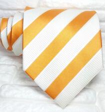Necktie striped  Orange & white tie WIDE 100% silk  Made in Italy Morgana brand
